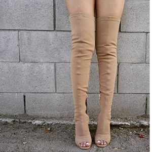 EGO official Tan thigh high boots